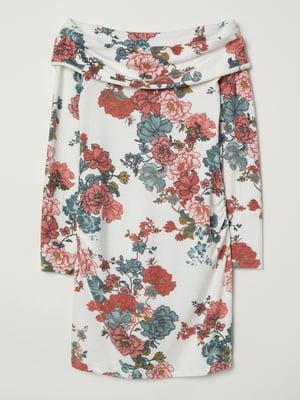 Джемпер для беременных белый в цветочный принт | 5501946