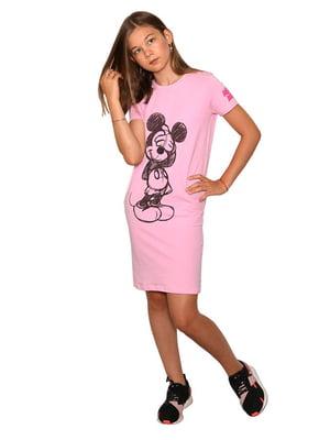 Платье-футболка розовое с принтом | 5502247