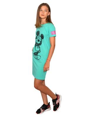 Платье-футболка бирюзовое с принтом | 5502248