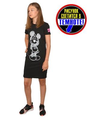 Платье-футболка черное с принтом | 5502249