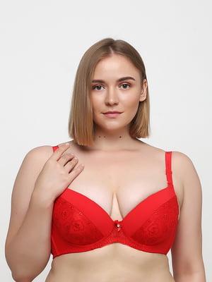 Бюстгальтер червоного кольору з візерунком | 5476555
