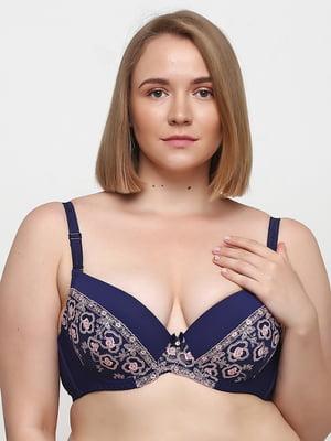 Бюстгальтер сине-розовый с узором | 5476556