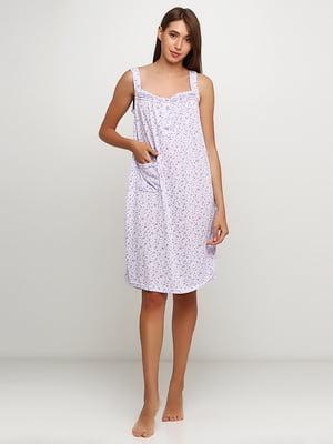 Рубашка ночная сиреневая с принтом | 5484053