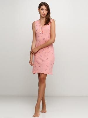 Рубашка ночная персикового цвета с принтом | 5484062