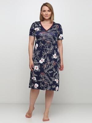Рубашка ночная синяя с цветочным принтом | 5484064