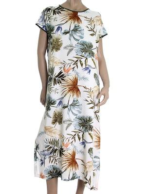 Платье белое в тропический принт | 5502876