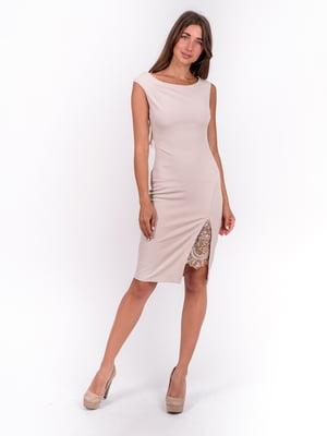 Сукня бежева з декором | 5502911