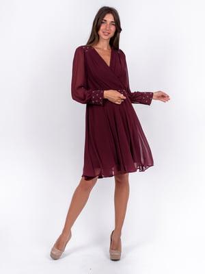 Сукня бордова з декором | 5502914