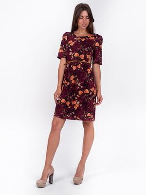 Сукня бордова з принтом | 5502916