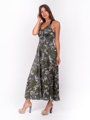 Сукня кольору хакі з квітковим принтом | 5502926