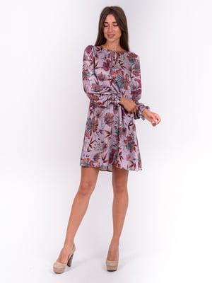 Сукня бузкова з квітковим принтом | 5502927