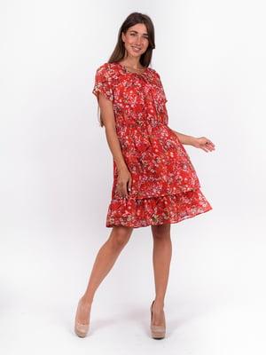 Сукня червона з квітковим принтом | 5502934