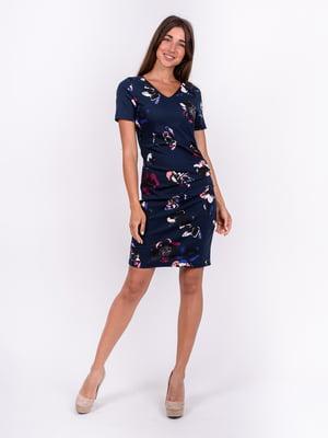 Сукня синя з квітковим принтом | 5502947