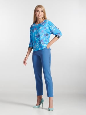 Блуза голубая в принт | 5304081