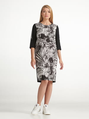 Сукня чорна з принтом | 5304163