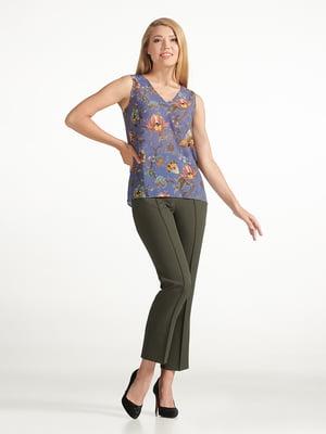 Блуза синяя с цветочным принтом | 5306087
