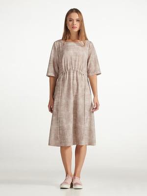 Сукня коричнева з розмитим принтом | 5306108