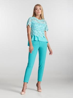 Блуза голубая с узором | 5343233