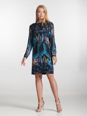 Сукня синя з принтом | 5343267
