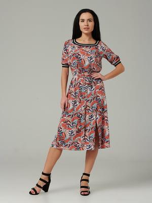 Сукня помаранчева з квітковим принтом | 5343298