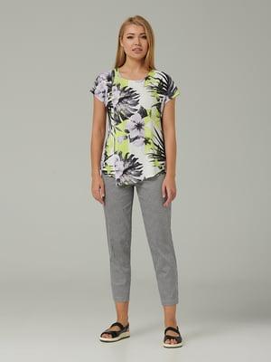 Блуза молочного кольору з квітковим принтом | 5441265