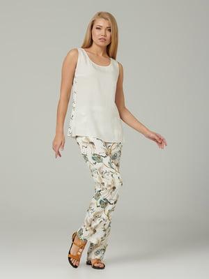 Блуза молочного кольору з квітковим принтом | 5441284