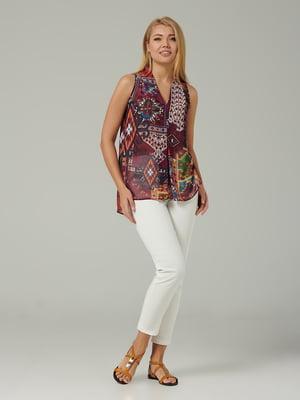 Блуза фиолетовая с геометрическим принтом | 5441286