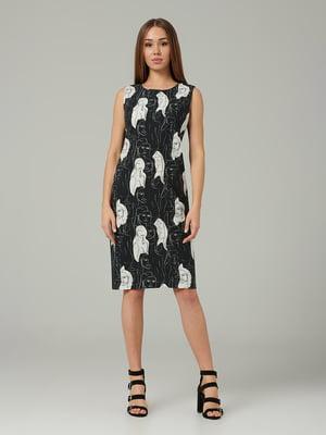 Платье черное с принтом   5441323