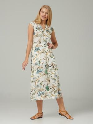 Сукня молочного кольору з квітковим принтом | 5441329