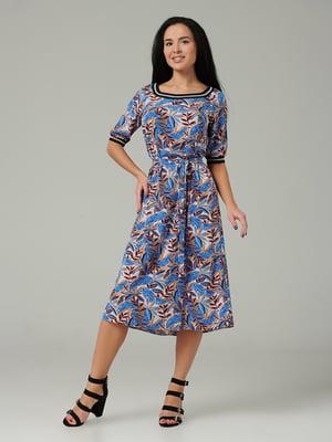 Платье синее с принтом | 5441338
