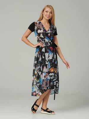 Платье черное в принт | 5441341