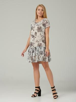Сукня молочного кольору в квітковий принт | 5441351