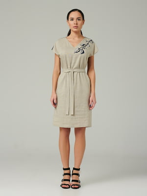 Платье бежевое с рисунком   5441393