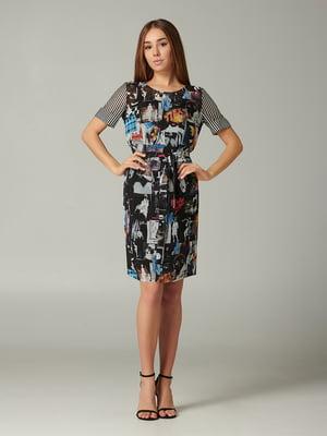 Сукня чорна з принтом | 5441396