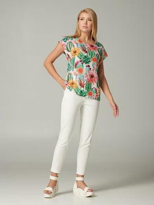Блуза зелена з квітковим принтом | 5483710