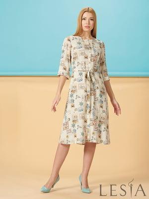 Сукня молочного кольору з принтом | 5304217