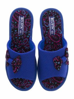 Тапочки сині в принт | 5503030