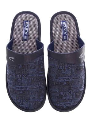 Тапочки сині в принт | 5503044