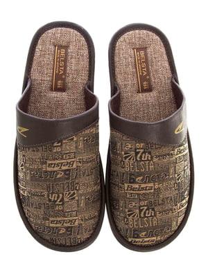Тапочки коричневі в принт | 5503045