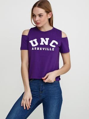 Футболка фіолетова з принтом | 5503074