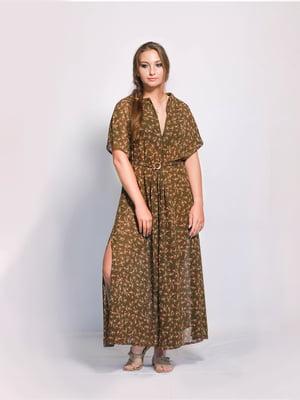 Сукня кольору хакі з квітковим принтом | 5503808