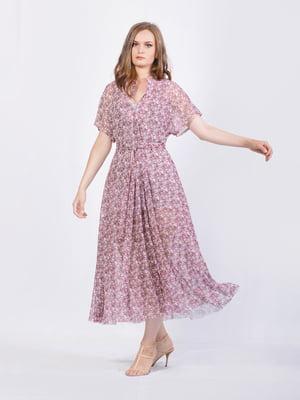 Сукня рожево-лавандового кольору з квітковим принтом | 5503829