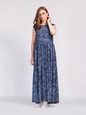 Сукня синя з квітковим принтом | 5503871