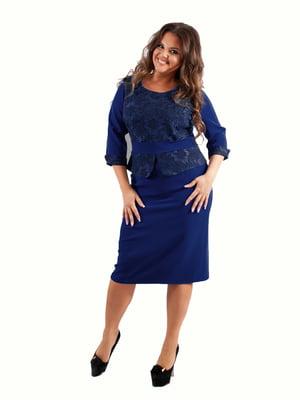 Платье синее с цветочным узором | 5502499