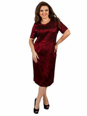 Платье бордовое с узором | 5502517