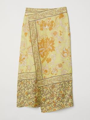 Спідниця жовта з квітковим принтом | 5504252