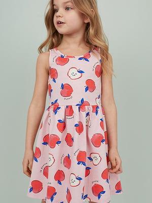 Сукня червоно-рожева з принтом   5504599