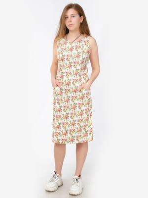 Сукня біла в принт | 5504675