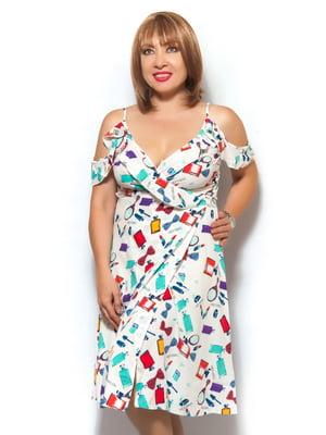 Платье-халат белое в принт | 5504681