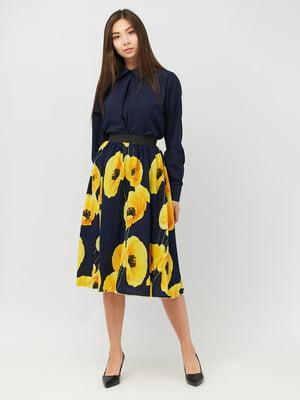 Спідниця синя з квітковим принтом | 5504917